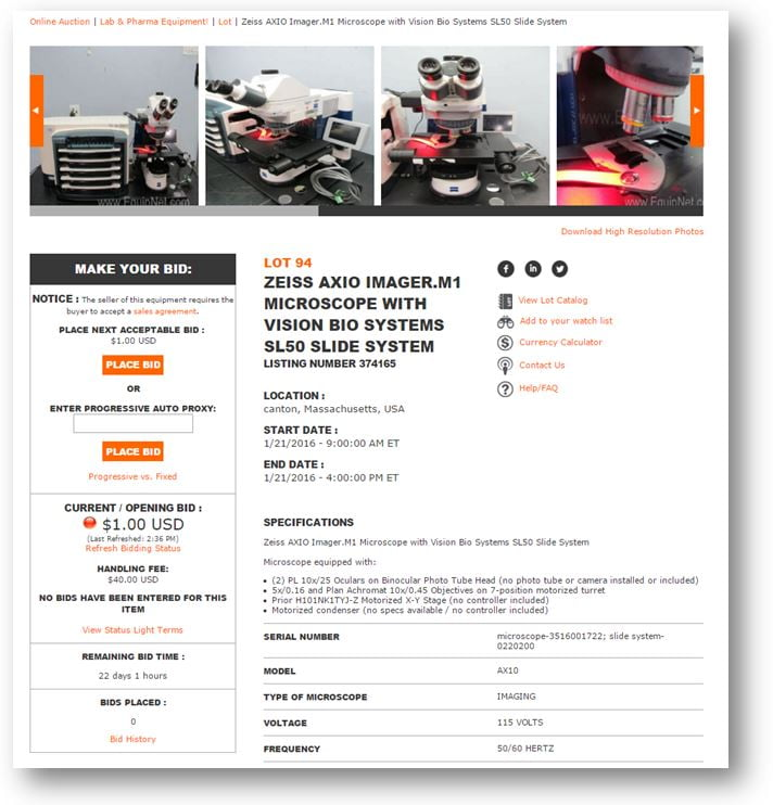 auction listing pages