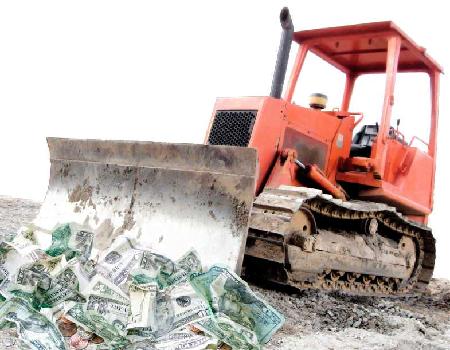 bulldozer rojo de ahorros